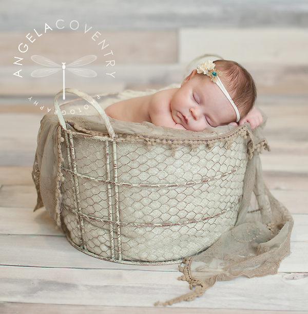 Newborn photos using baskets